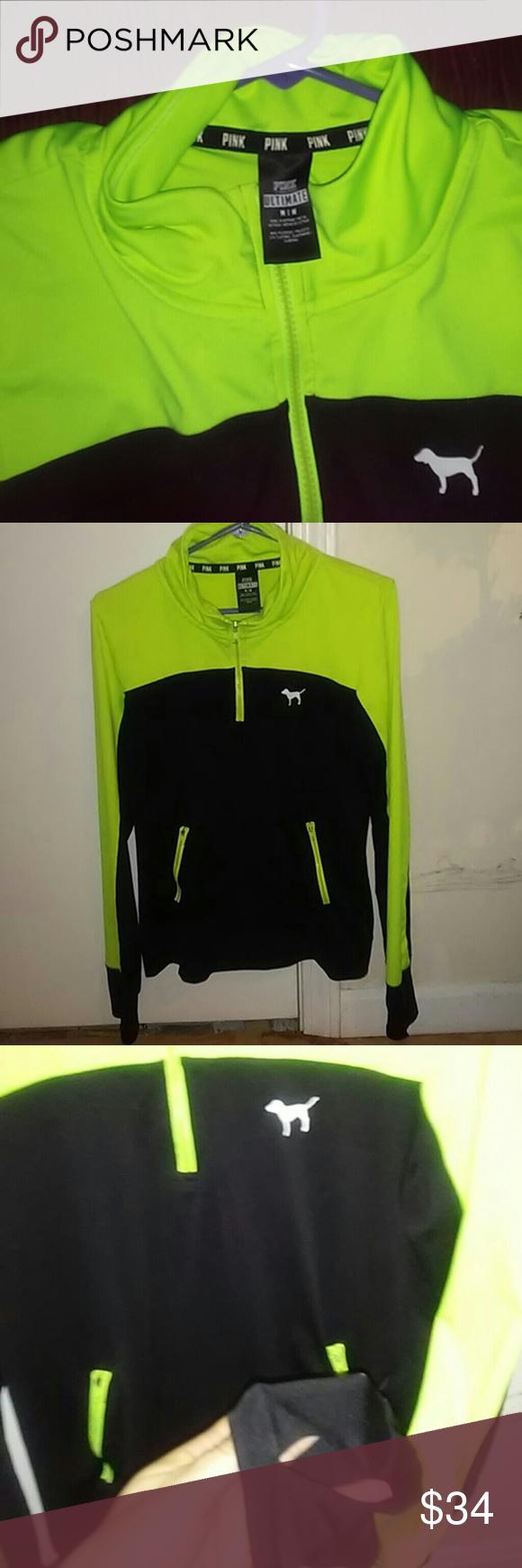 06c3e20fbcbb1 Vs/pink ultimate track jacket Neon yellow & black half zip ultimate track  jacket.. Thumb holes & 2 zip pockets PINK Victoria's Secret Tops Sweatshirts  & ...