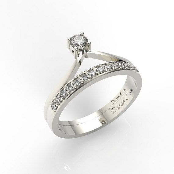 Engagement Ring Wedding Band 14k White Gold With Diamond Engagement Ring Anniversary Ring 2020