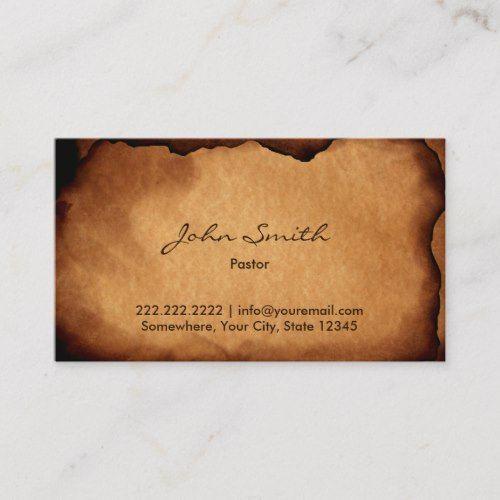 Vintage Old Burned Paper Pastor Business Card Zazzle Com Burnt Paper Art Business Cards Artist Business Cards