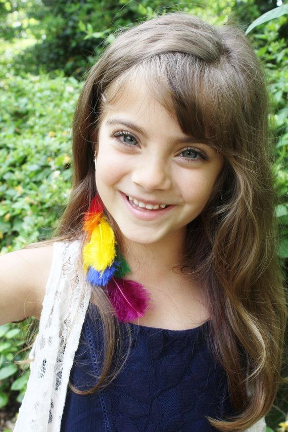 Rainbow Hair Extension Rainbow Feathers -