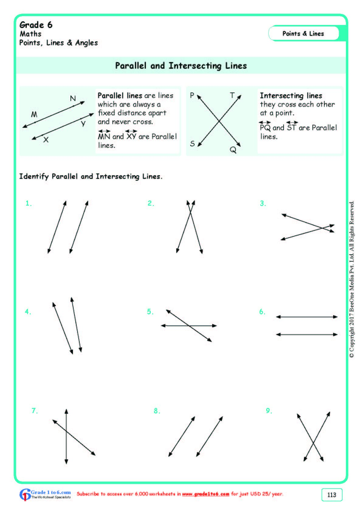Worksheet Grade 6 Math Parallel And Intersecting Lines In