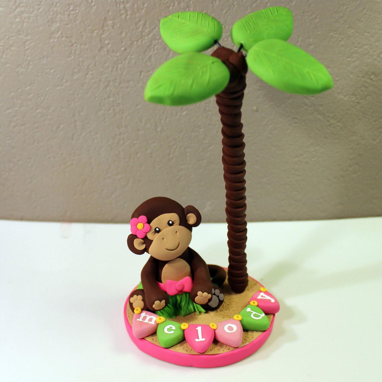 Hawaiian Hula Luau Monkey Custom Cake Topper for by
