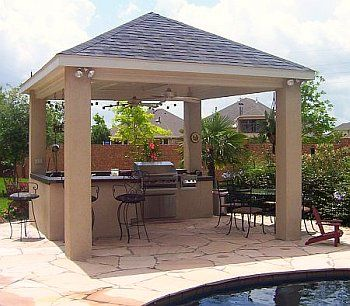 Free standing patio cover plans covered outdoor kitchen for Free standing bar plans