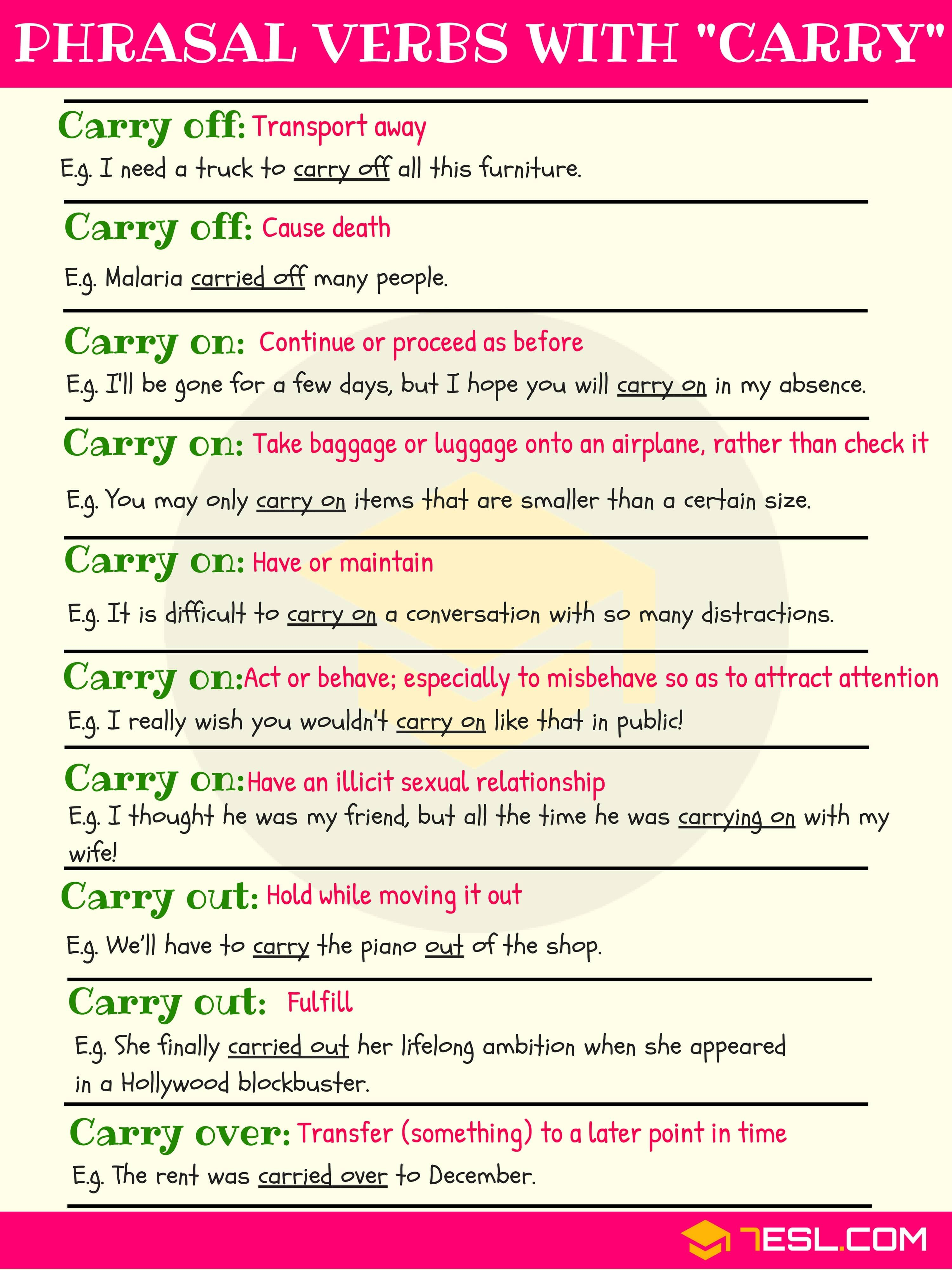Phrasal Verbs With Carry Carry Off Carry On Carry Out