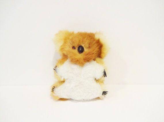 Vintage Real Fur Koala Bear Stuffed Animal by LeVieuxSalon on Etsy