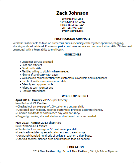 Cashier Resume Templates Retail Resumes Myperfectresume Sample