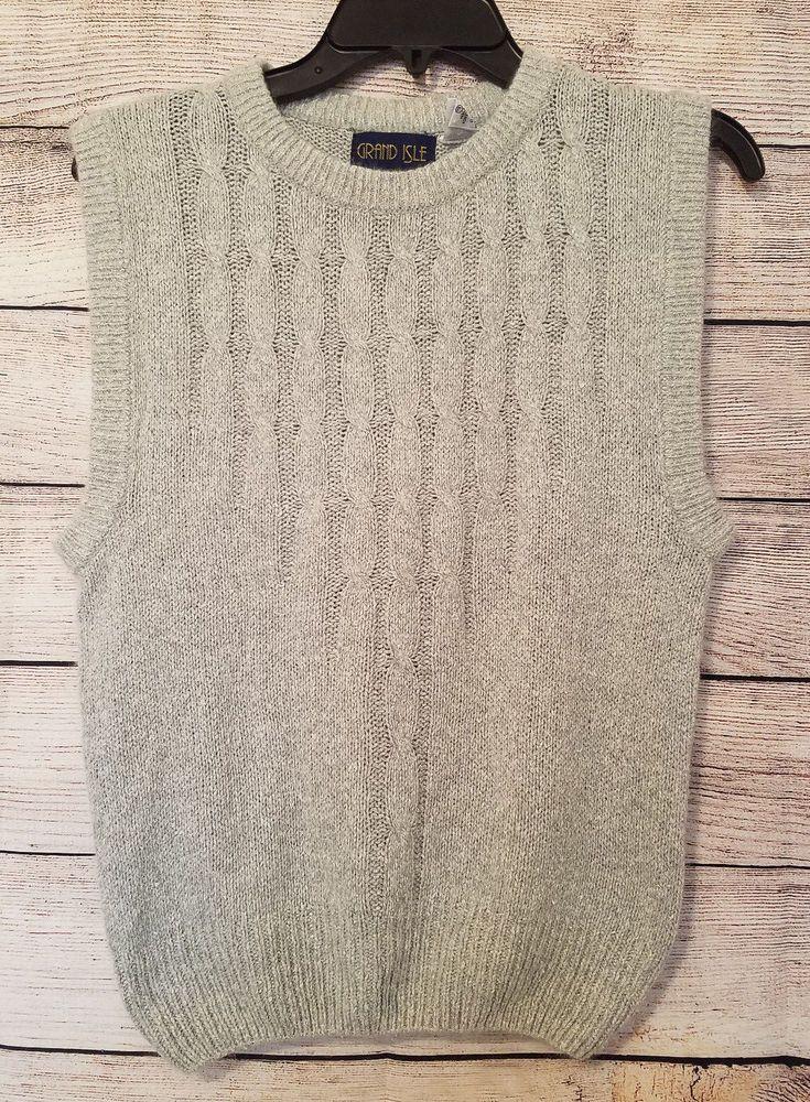 Vtg L Grand Isle Grey Cable Knit Sleeveless Sweater Vest Silkangora