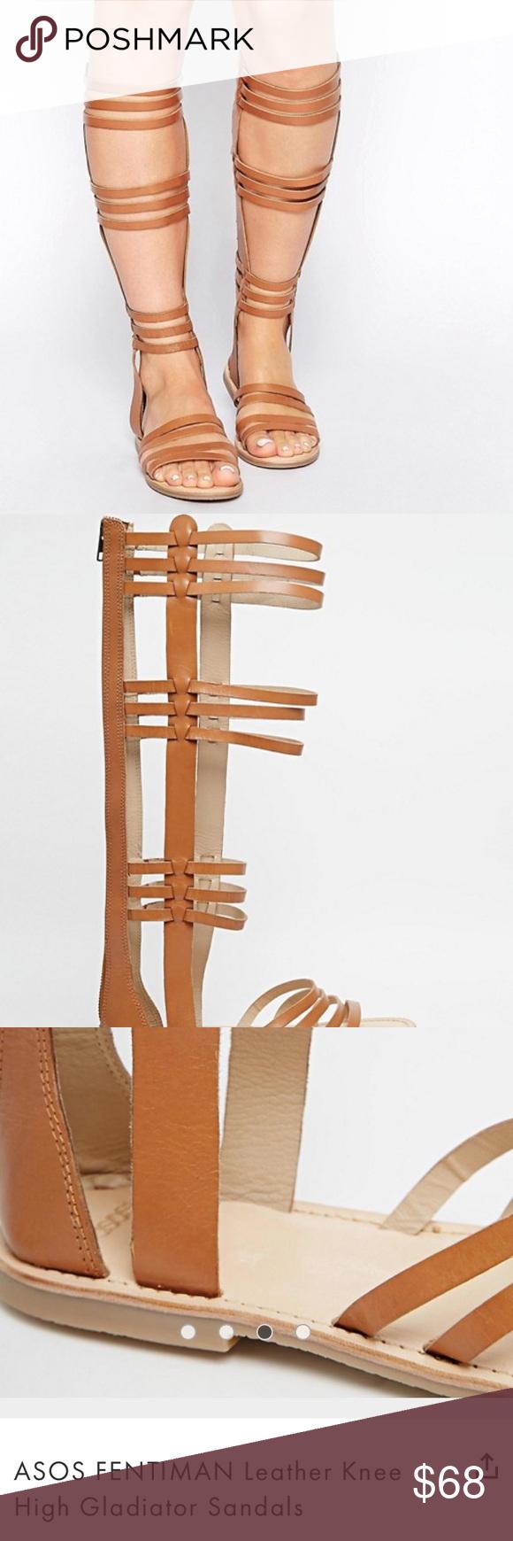 b1258dea9145e8 ASOS - Fentiman Tall Gladiator Sandals Tan US 7 Excellent