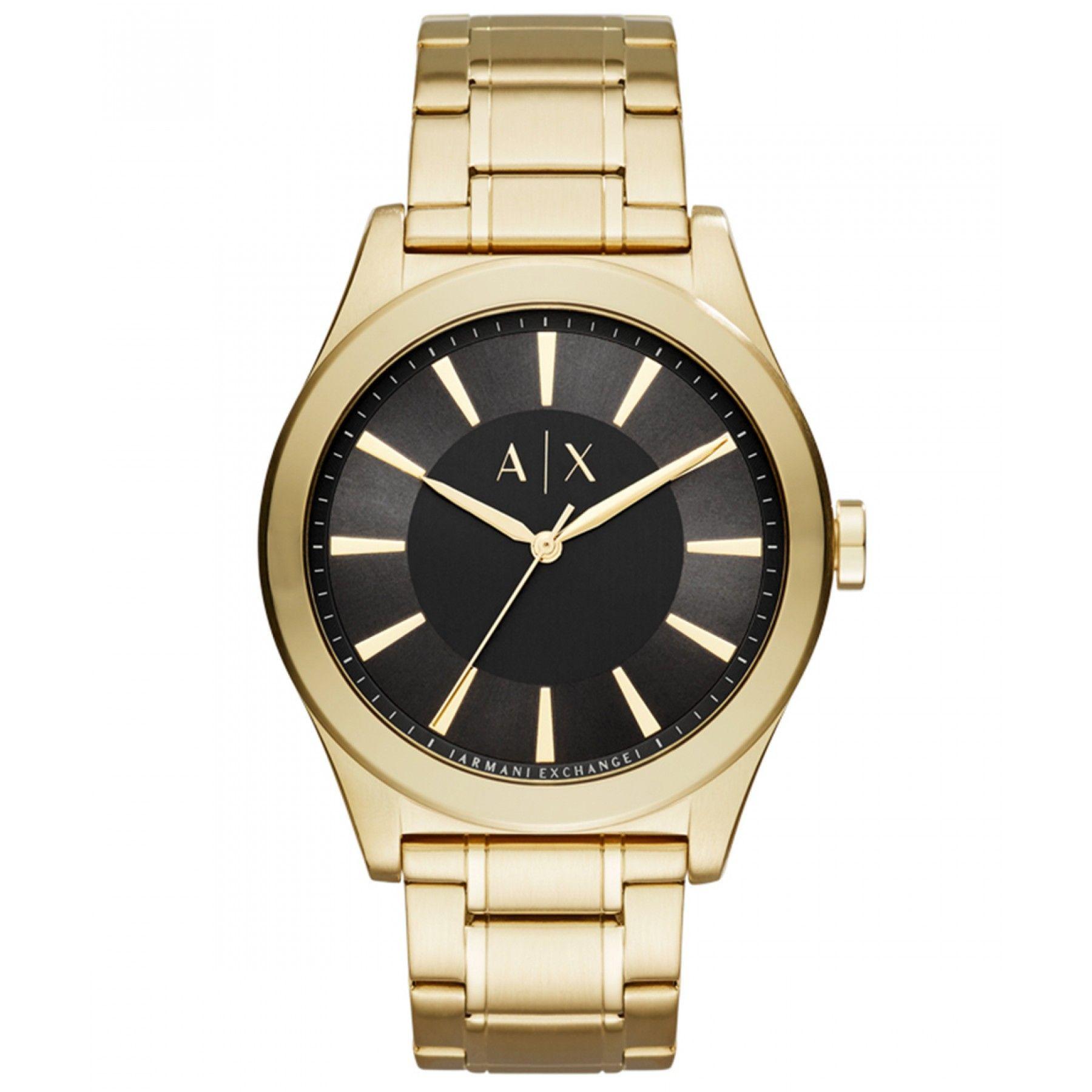 03bb2f3429d Reloj Armani Exchange de caja bisel y extensible tipo brazalete en acero  color dorado  carátula