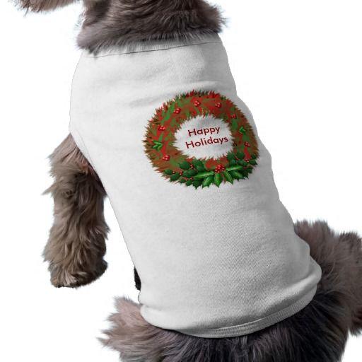 Holly Wreath Pet T-Shirt