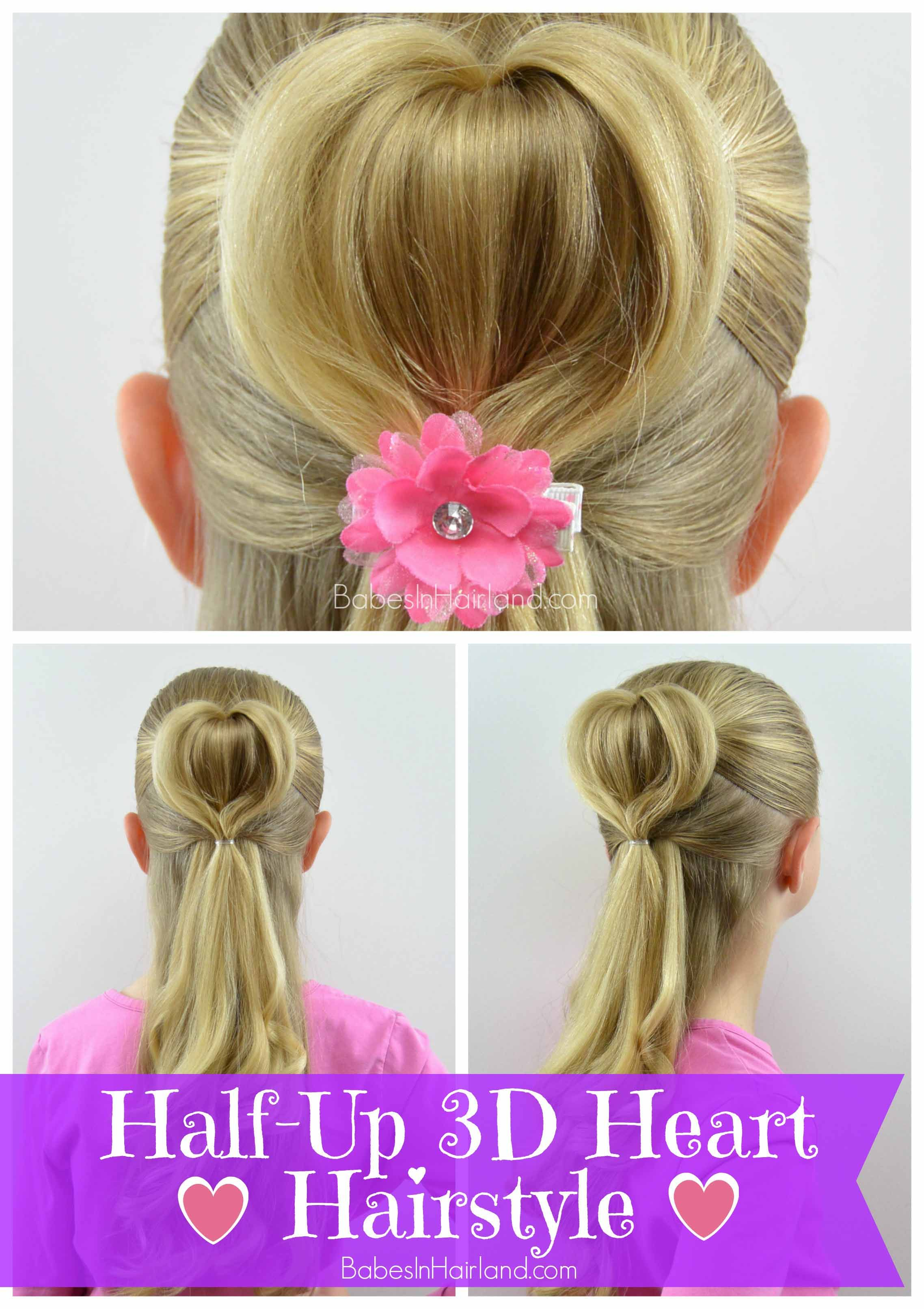 half-up 3d heart hairstyle | valentine's day hairstyle | babes in