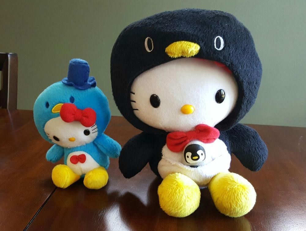 Lot of 2 Hello Kitty Fabric Plush in Penguin Costumes - RARE - Smoke Free Home & Lot of 2 Hello Kitty Fabric Plush in Penguin Costumes - RARE - Smoke ...
