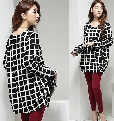Black and Ivory Check Tunic Blouse