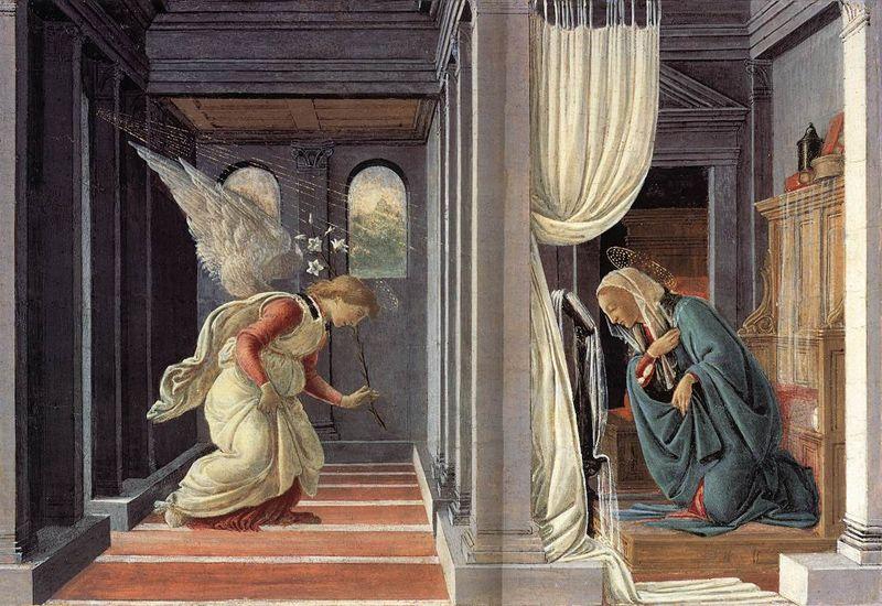 Annunciation. Anunciación. Sandro Botticelli. 1485. Tempera and Gold on Panel. 19.1 X 31.4 cm.  Metropolitan Museum of Art. New York.