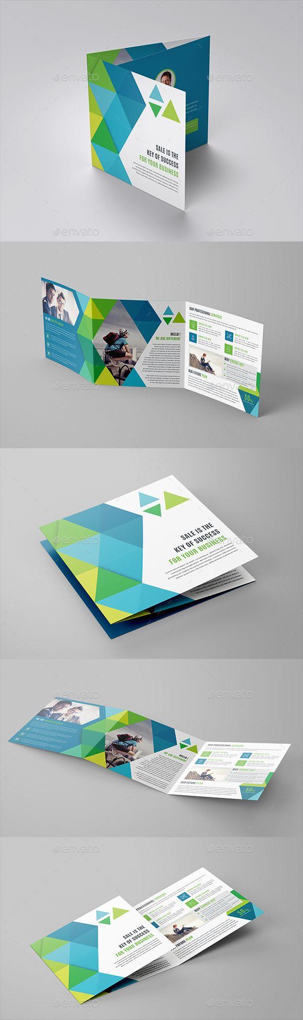 Square Tri-Fold Brochure Template   Brochure empresarial y Portafolio