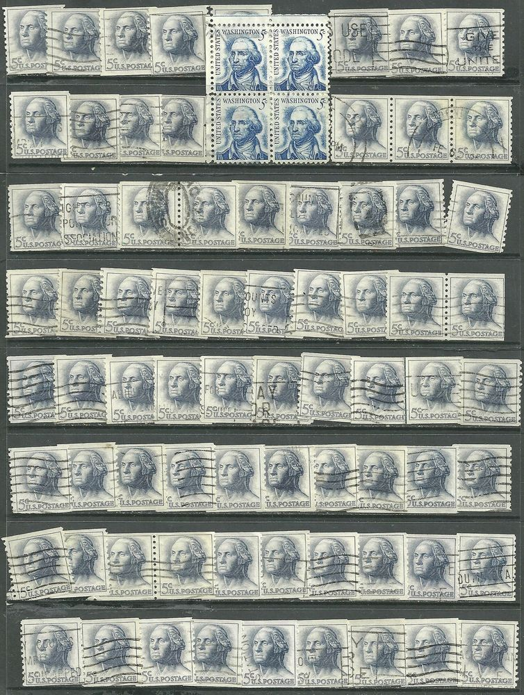 US lot of 77  stamps #1213 -5¢ Wa, #1229 -5¢ Washington - Perf 10 Vert. Coil bl