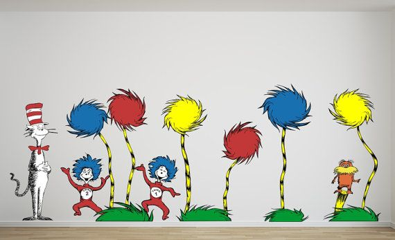 Fabric Wall Decals Lorax Truffula Trees with by ...
