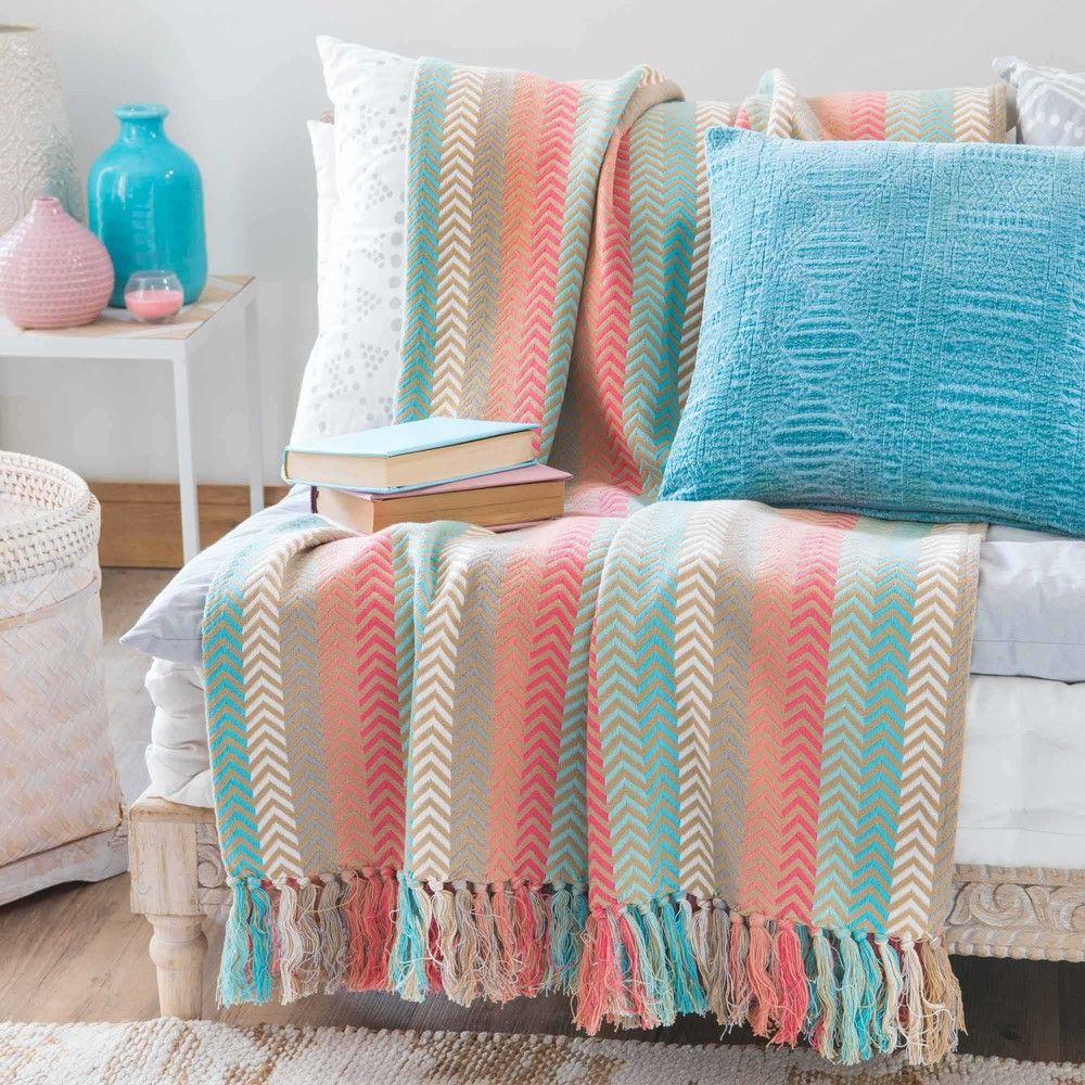 Colcha de algod n multicolor para cubrir el sof ideas para casa colchas mantas y telas - Colchas para sofas baratas ...