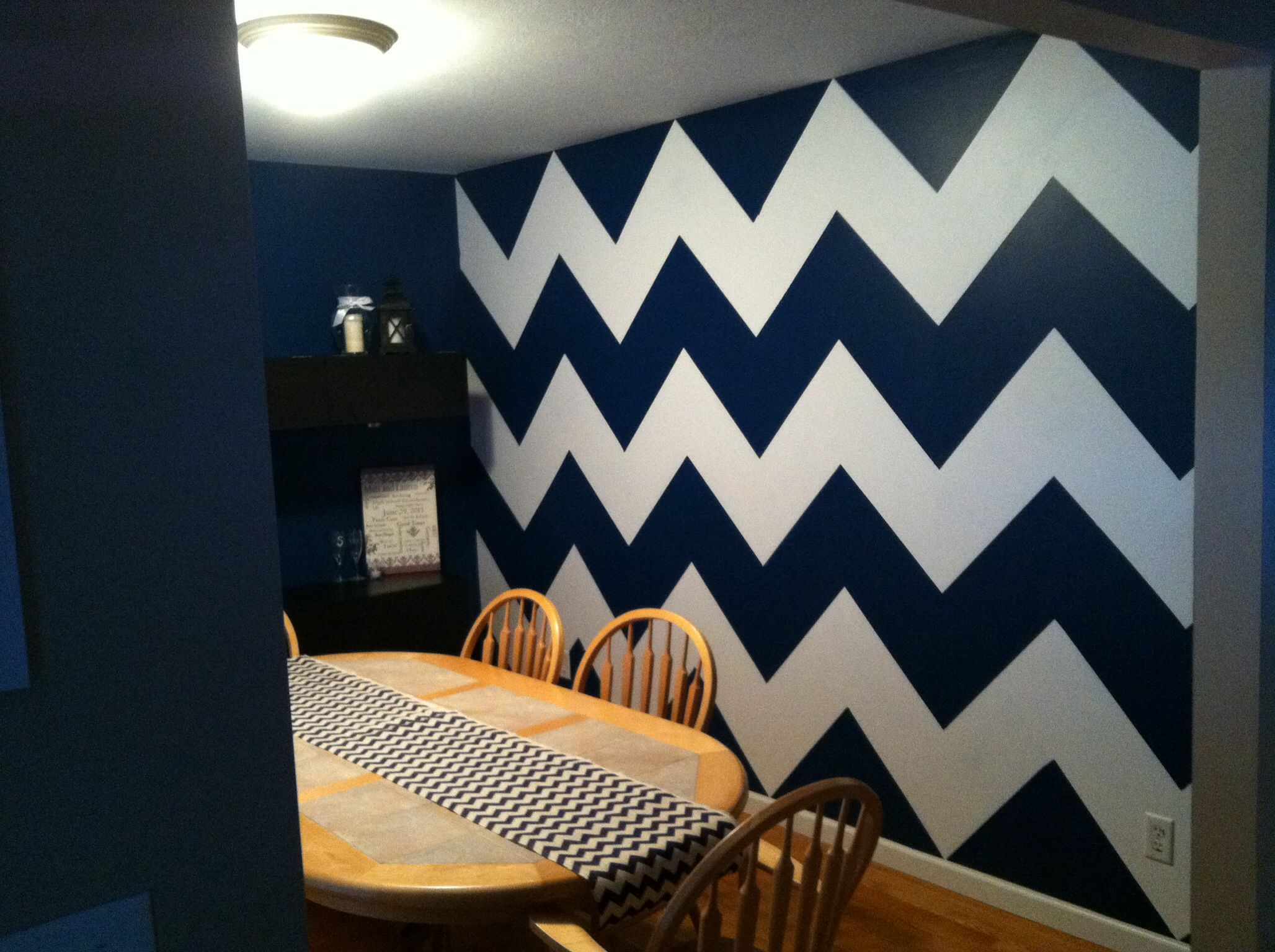 Navy & White Chevron Wall