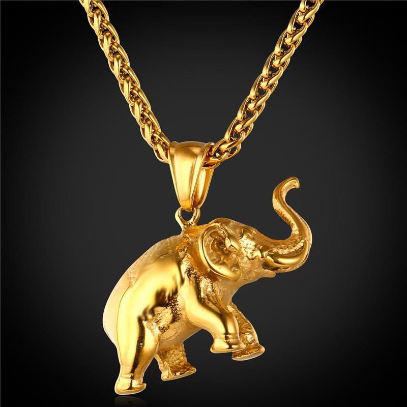 ba469b424412 Collar de Elefante chapado en oro para hombres y mujeres