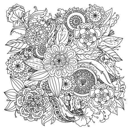 Patrón para colorear libro. — Vector de stock | H Flores y frutas 06 ...