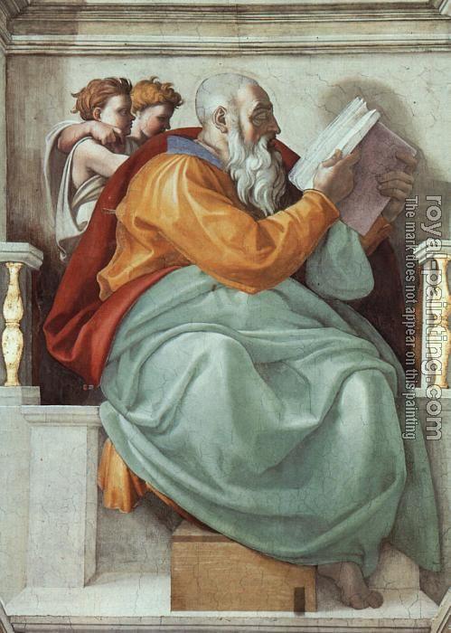 Michel Ange 1475 1564 Le Prophete Zacharie Fresque Du