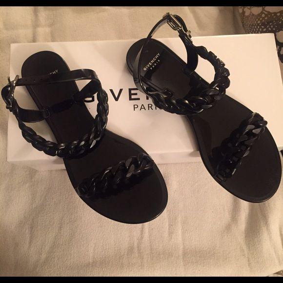 Givenchy Paris Sandals Givenchy Paris Black Jelly Flat