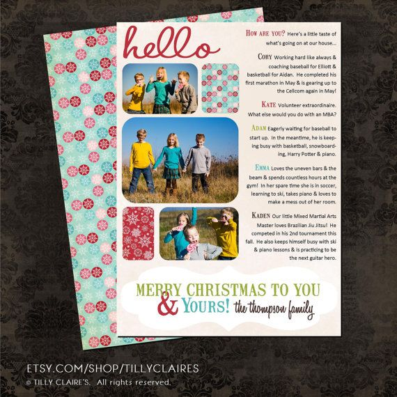 You Print Hello Christmas Holiday Photo Card Year End Family Newsletter Letter F Christmas Lettering Christmas Letter Template Christmas Holiday Photos