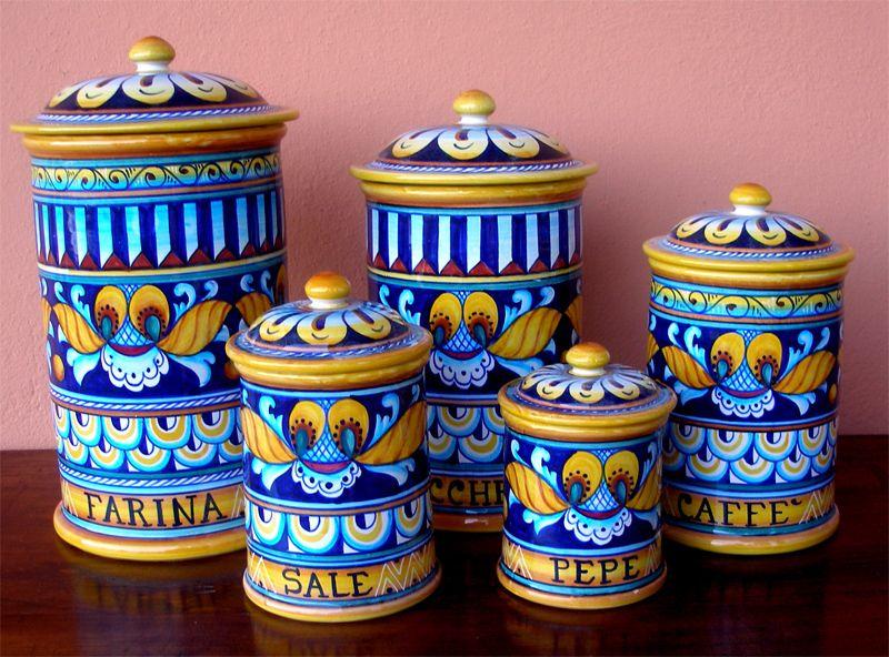 deruta pottery 5 pcs canisters set geo pattern ebay