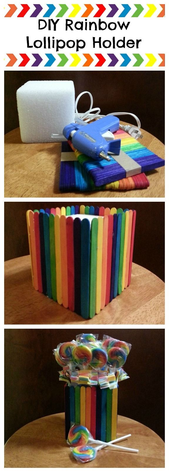 DIY Rainbow Lollipop Holder. A great craft idea and DIY centerpiece to complete your rainbow party theme.