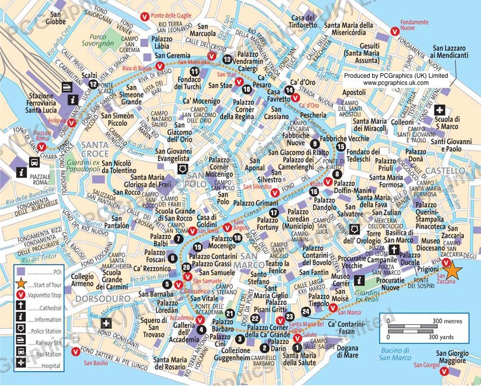 Grand Canal, Venice, map produced by PCGraphics. See more ...