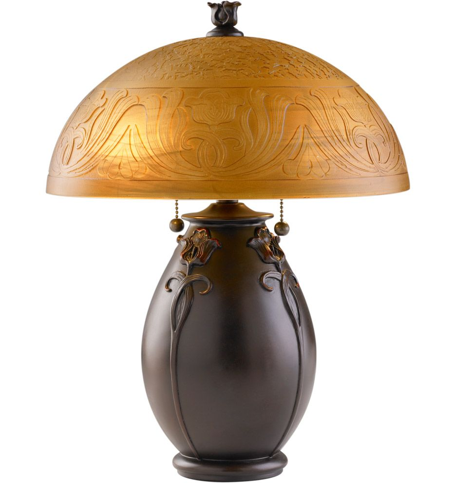 Rejuvenation Glenhaven Table Lamp Etched Shade