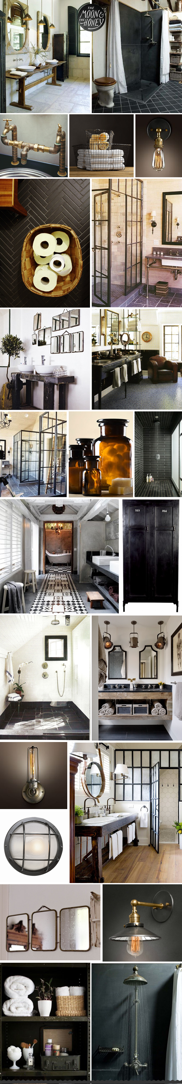 love the black subway tile (not shin) in the shower with gray grout. also love the black and white tile in the pic on the left laid as a runner
