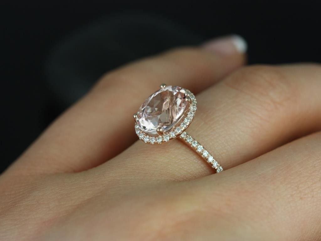 Rosados Box Jessica Rose Gold Oval Morganite Halo Engagement Ring