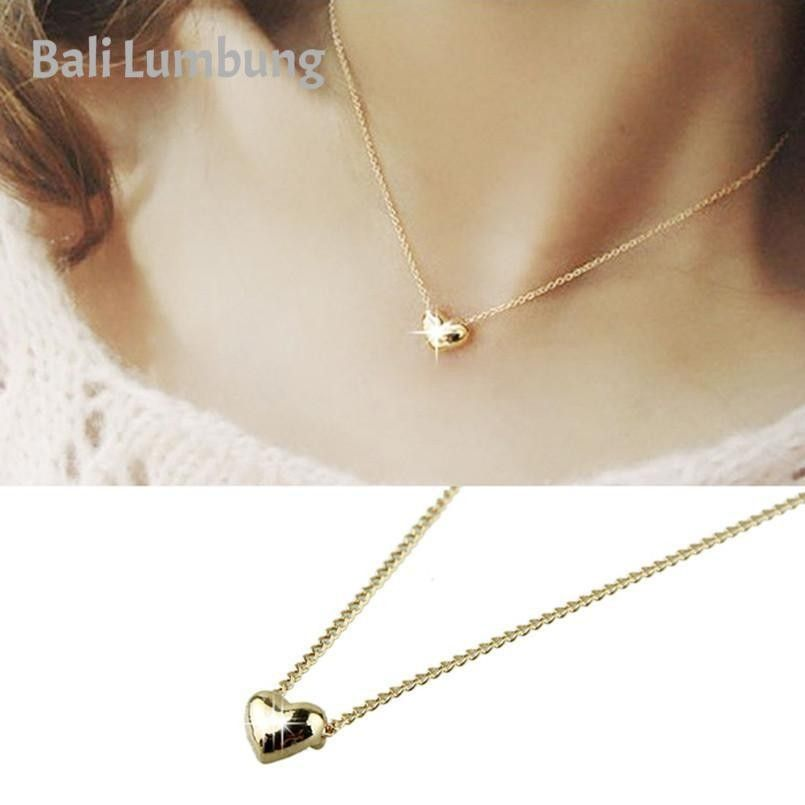 Small Smooth Heart White Yellow Gold Plated Choker Necklace for Women Jewelry