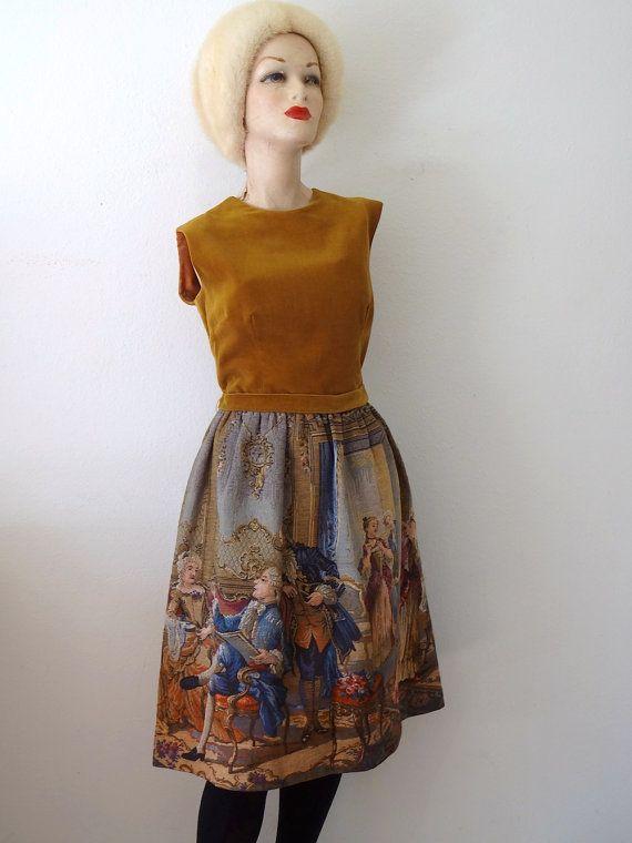 1950s Party Dress - velvet and tapestry shirtwaist