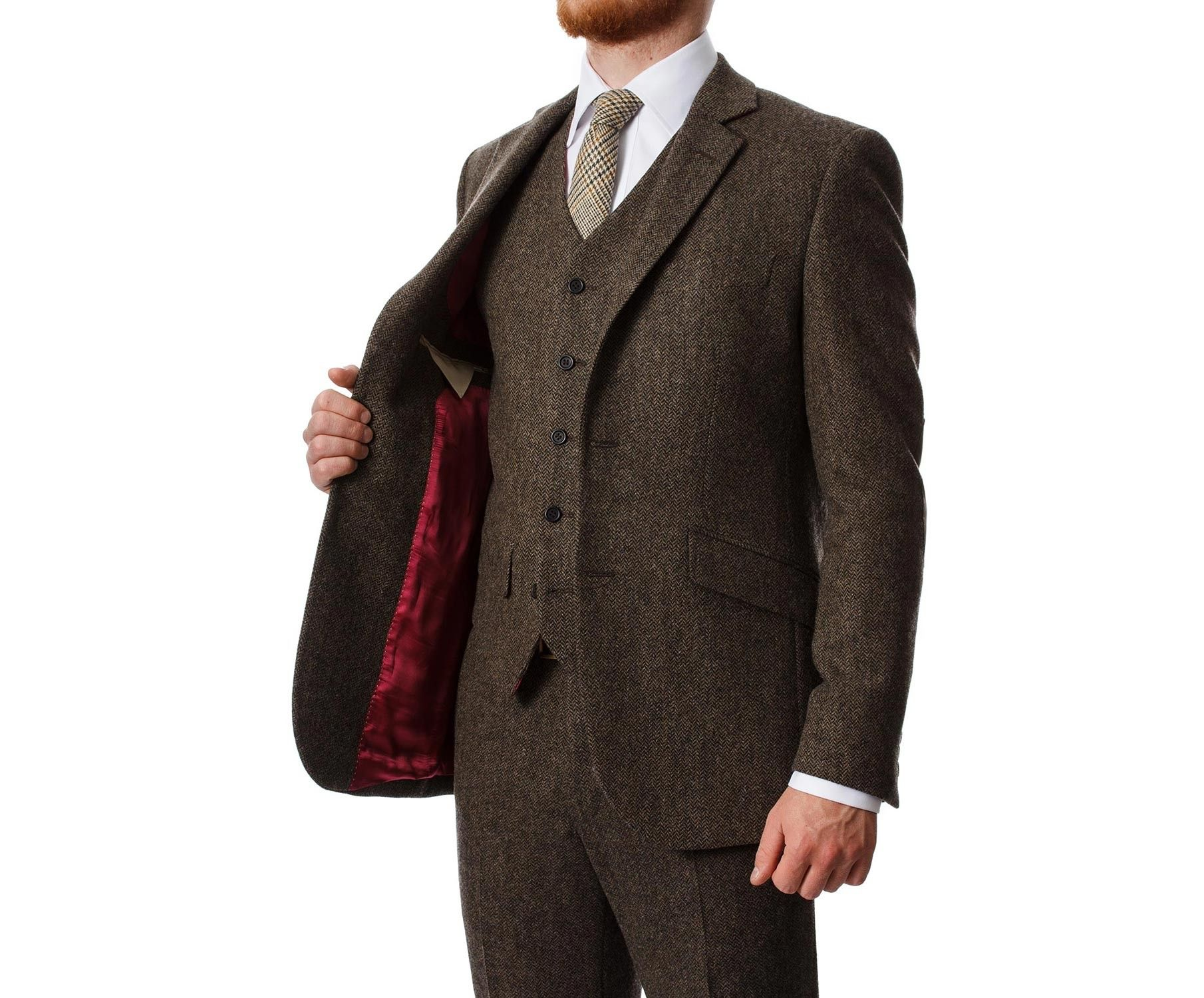 Martin Men's tweed Suit Jacket Brown Fine Herringbone Lambswool ...