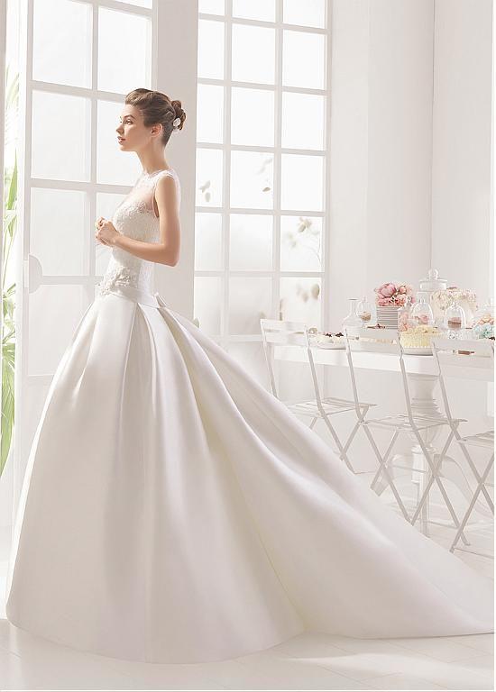 comprar 2 en 1 vestidos de novia precioso tul y satén ilusión escote ...