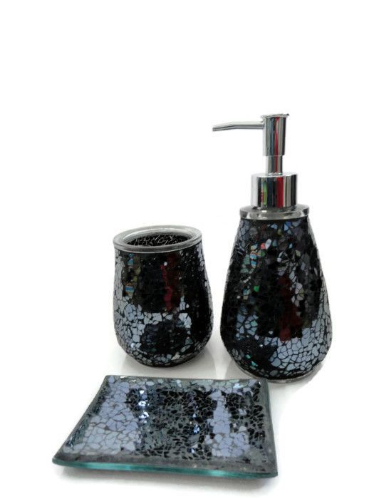 Black Mosaic Crackle Glass Bathroom Accessory Set Tumbler Dispenser Soap Dish Glitter