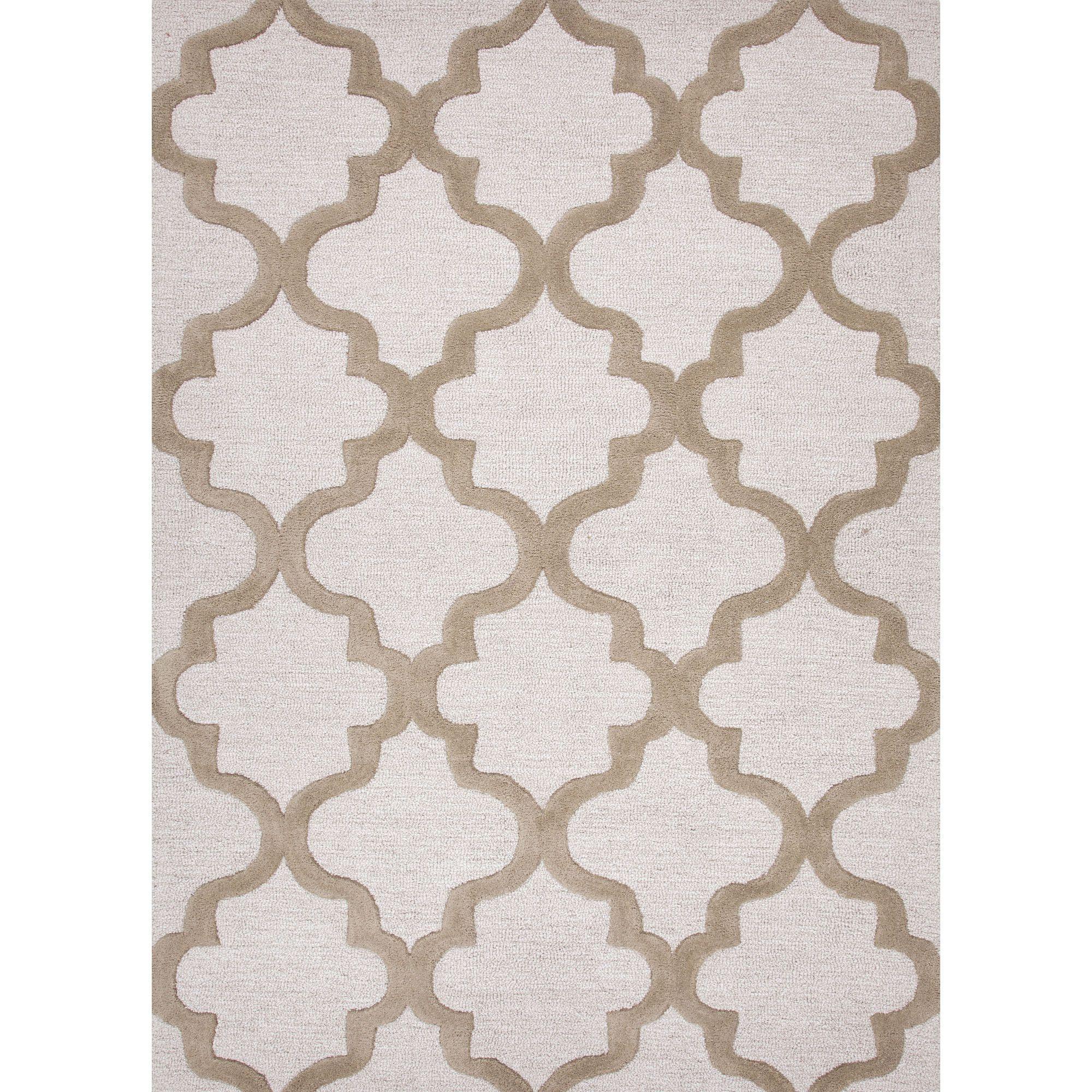 Jaipur Rugs Modern Geometric Pattern Ivory Taupe Wool Area