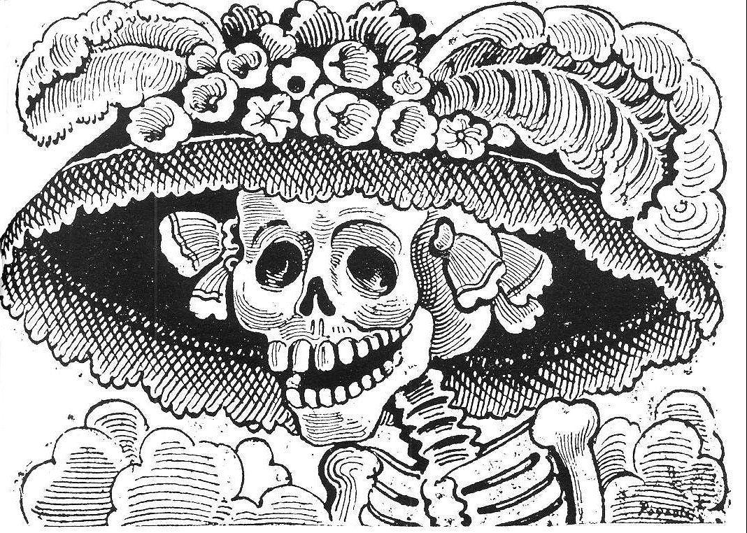 dia de los muertos catrina coloring page google search