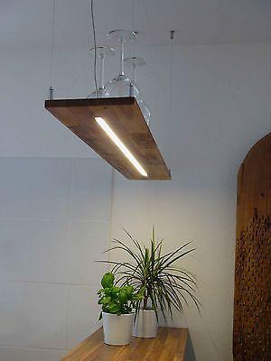 Details zu Hängelampe Holz Akazie LED Leuchte mit Dimmfunktion