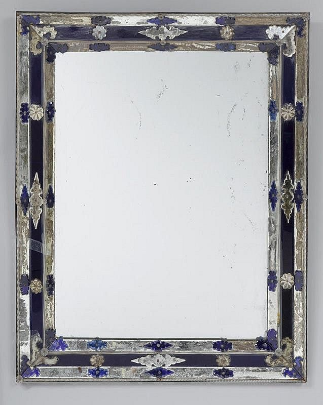 Modern Colourless and blue Murano glass mirror Venice Italy 19th Cent Pictures - Fresh venetian glass mirror Contemporary