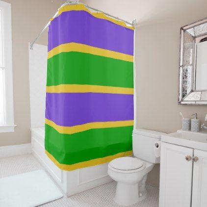 Mardi Gras Stripes Colors Shower Curtain Zazzle Com Curtains