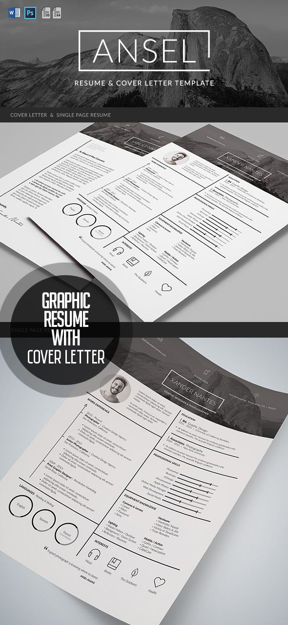 Ansel   Graphic Resume And Cover Letter Template