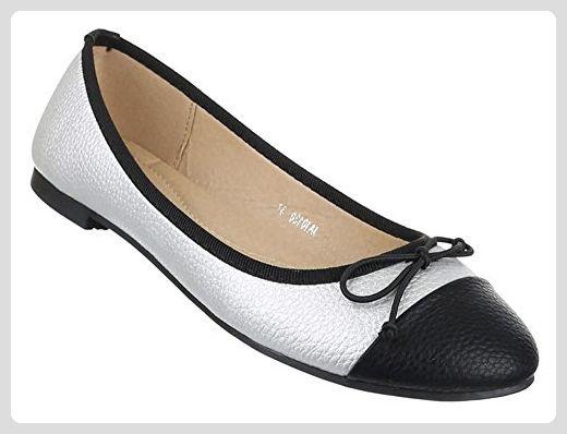 Damen Schuhe Ballerinas Elegante Slipper Mit Blockabsatz Und Schleife In Silber Und Grosse 37 Schuhcity24 Loafers I Chanel Ballet Flats Ballet Flats Shoes