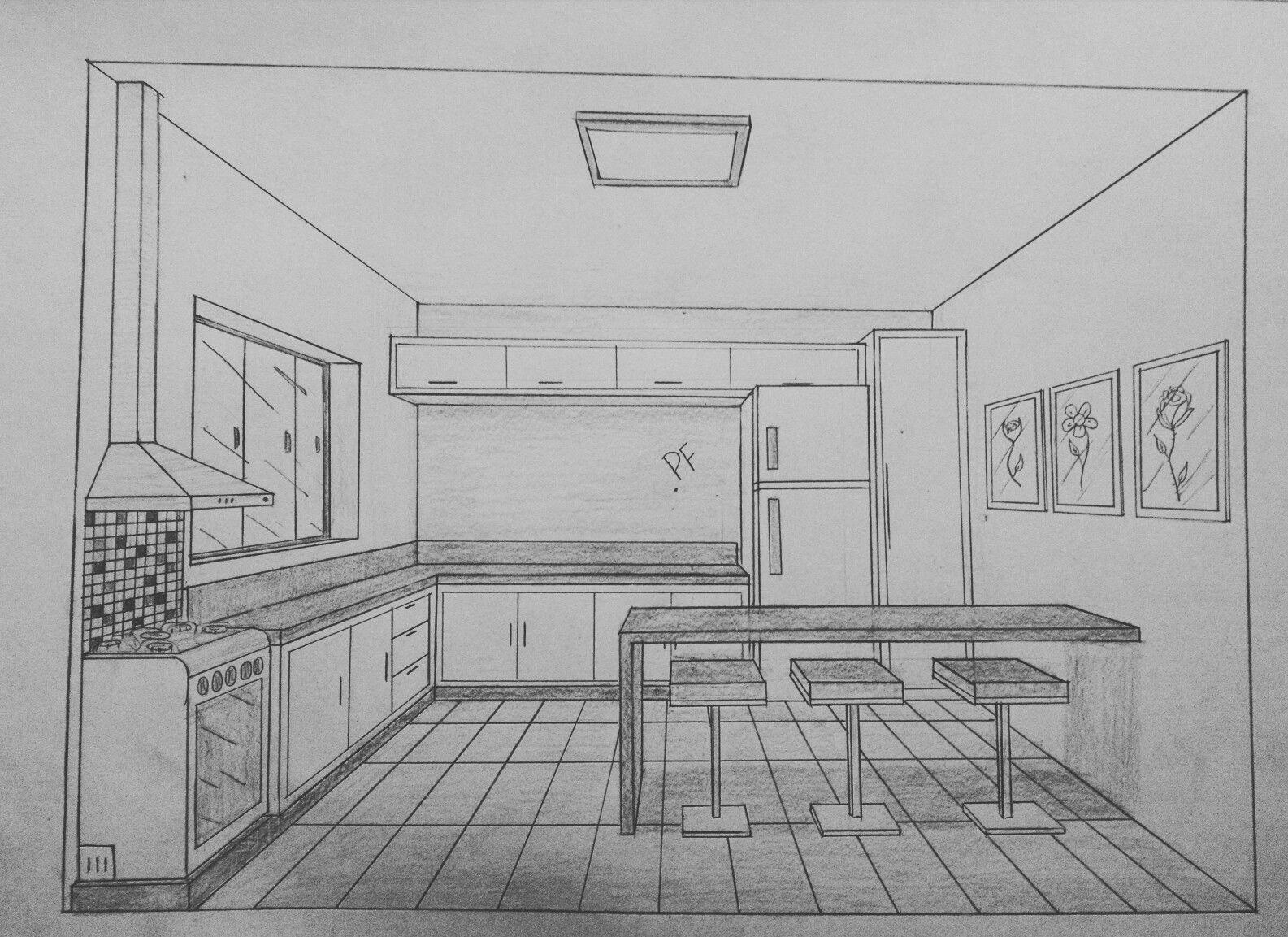 Desenho A Mao De Cozinha Com 1 Ponto De Fuga Ponto De Fuga