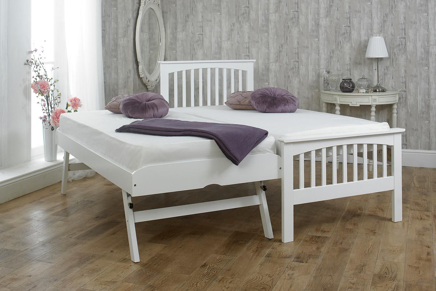 Heywood White Solid Wood Guest Bed 3ft Single Guest Bed