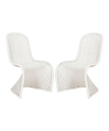 loving this white shanna wicker side chair set of two on zulily
