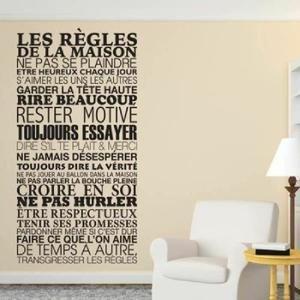 Sticker Mural Les Règles De La Maison 61x120 CM   Couleur Noir ?1 Avis  Donnez Votre Avis ...